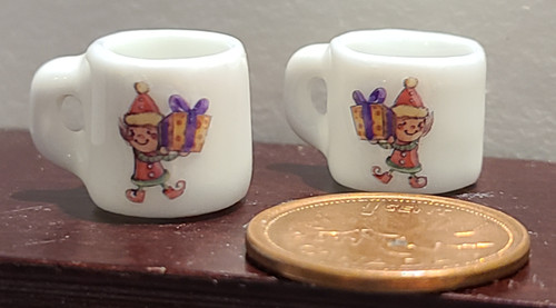 Miniature Christmas Mugs - Elf Carrying Gift