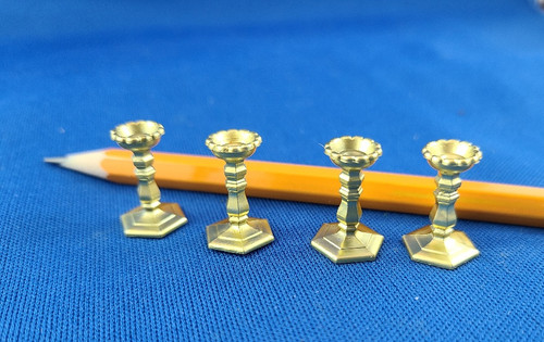 1/12 Scale (4) Gold Candlesticks