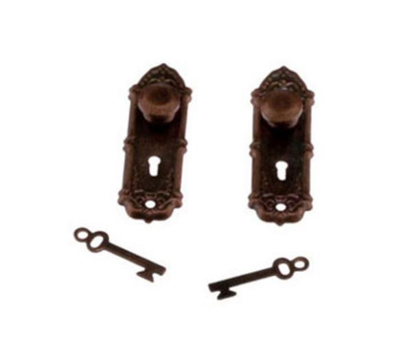 Fancy Antiqued Copper Door Knobs - Set of 2 with keys