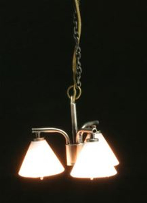 Modern Chandelier with 3 Down Shades - pewter