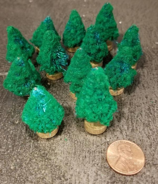 "1 1/2"" Flocked Coniferous Tree - Pkg of 12"