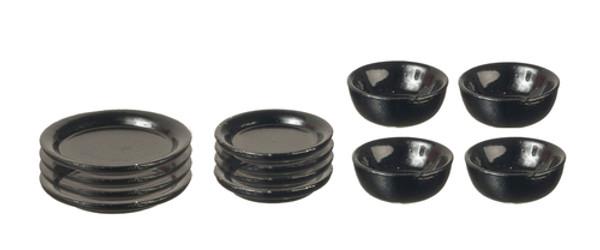 12 Pc. Black Metal Dish Set
