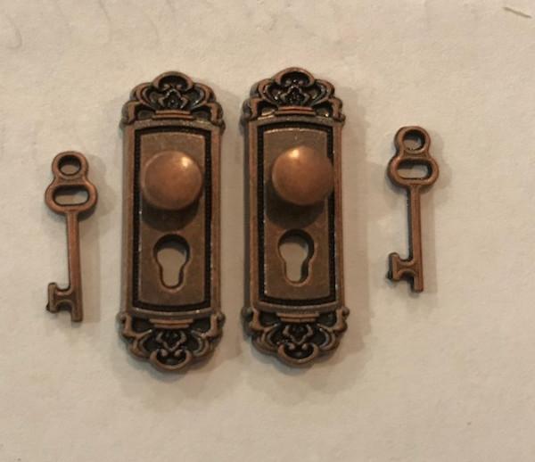 Antiqued Copper Door Knobs with Keys