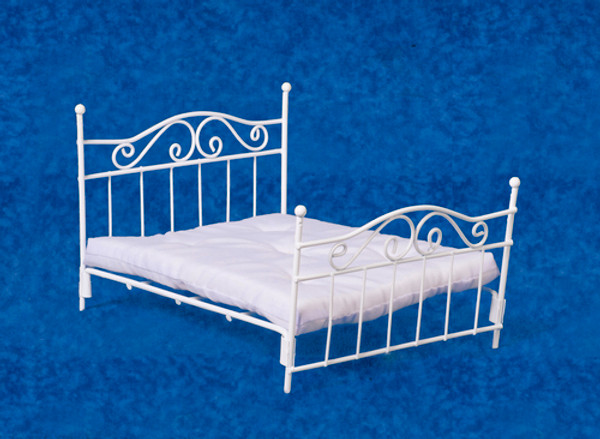 Double White Metal Bed
