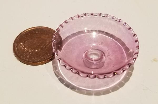 Glasscraft Ribbed Pink Stemmed Bowl