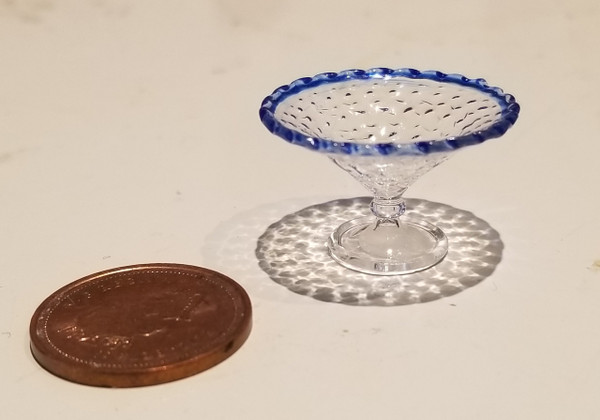 Glasscraft Clear Glass with Blue Trim Stemmed Bowl