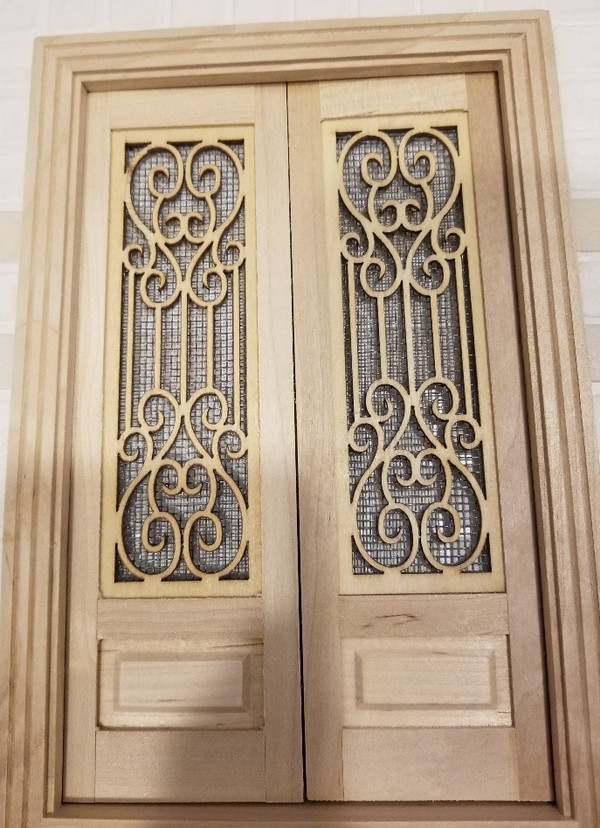 Fancy Double Screen Door with Threshold