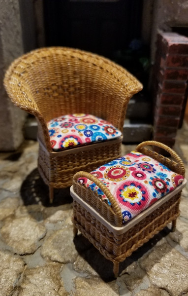 Handcrafted Wicker Chair & Stool Set