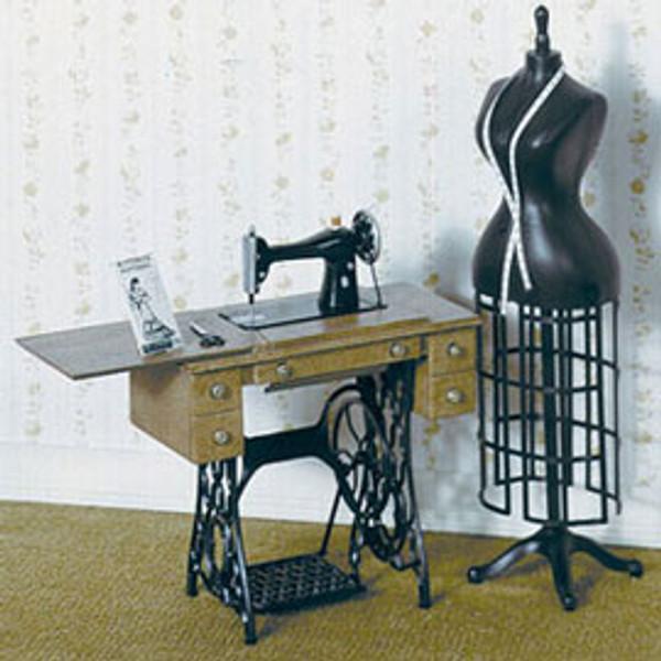 Miniature Sewing Machine, Dressmaker's Form & Accessories Kit (see description for list)