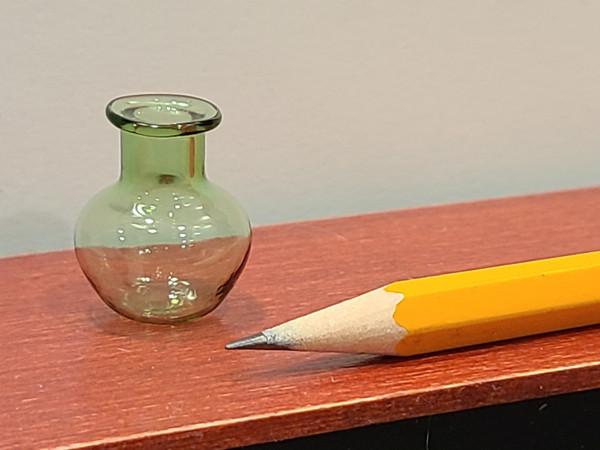 1/12 Scale Miniature Green Glass Vase