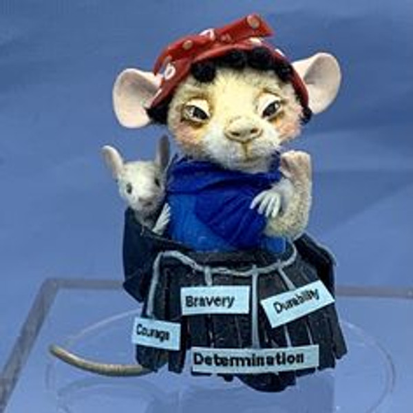 """Aleah Klay Character -Mouse with Baby (1 3/8"""" tall)"""
