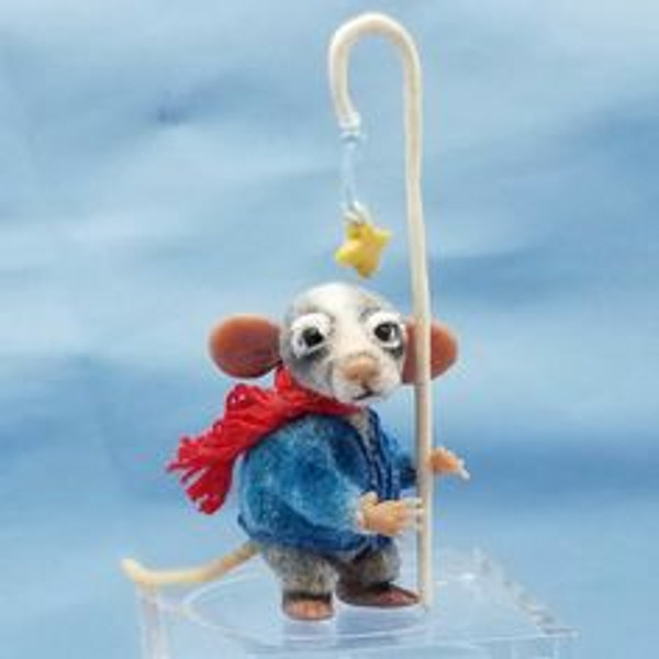 """Aleah Klay Character - Badger with Star Staff (1 5/8"""" tall including staff)"""