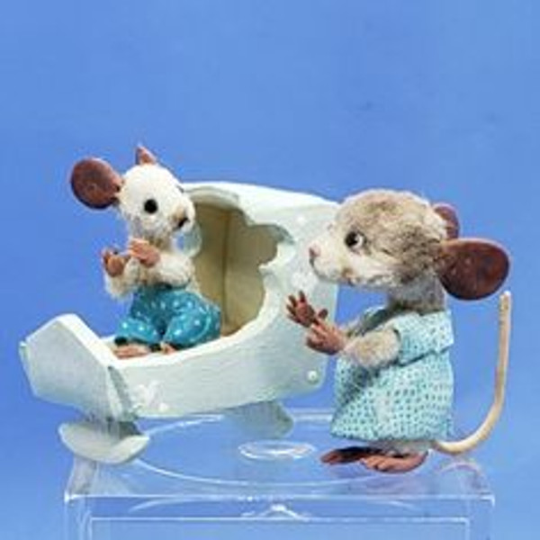 """Aleah Klay Character - Mama, Baby Mouse in Cradle (5/8"""" tall)"""
