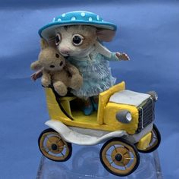 """Aleah Klay Character - Mouse with  Teddy in Car (2"""" tall)"""
