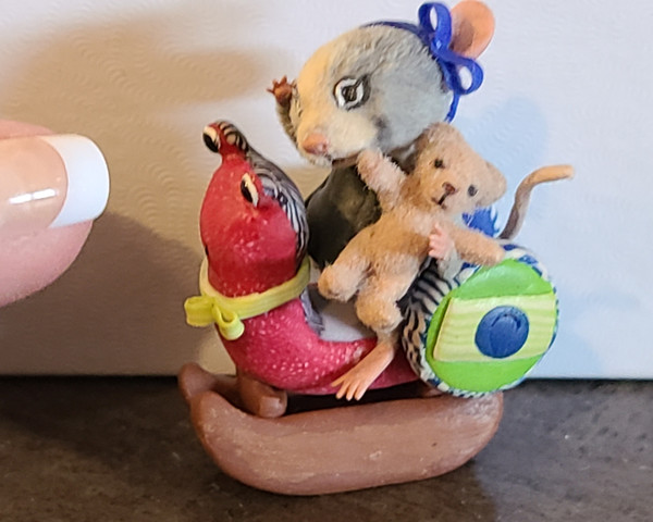 """Aleah Klay Character - Mouse with Teddy on Snail Rocker (1 3/4"""" tall)"""