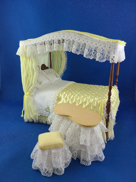 Handcrafted 1/12 Scale Canopy Bed, Vanity & Stool Set
