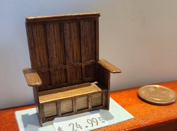 """1/4"""" Scale (1/48) Hardwood Bench - Artisan Made"""