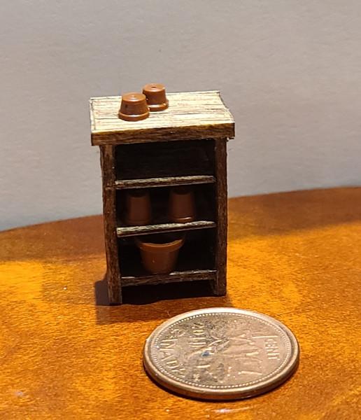 "1/4"" Scale (1/48) Wooden Shelf for Potting Shed/Garage"