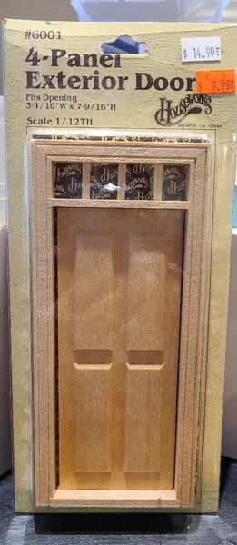 1/12 Scale 4 Panel Door Exterior Door