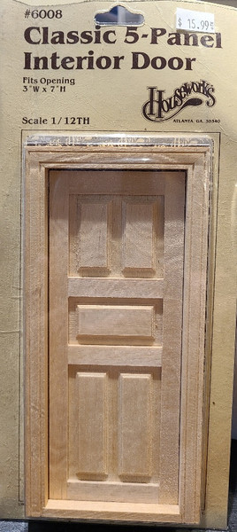 1/12 Scale Classic 5 Panel Door Interior Door