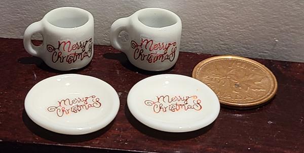 Miniature Christmas Mugs & Plates - Merry Christmas