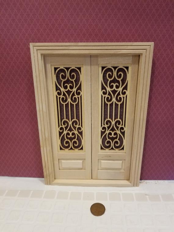 Fancy Double Screen Door with Threshold