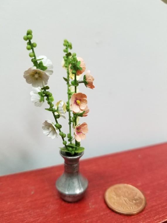 OOAK Martha McLean Flower Arrangement in Metal Vase