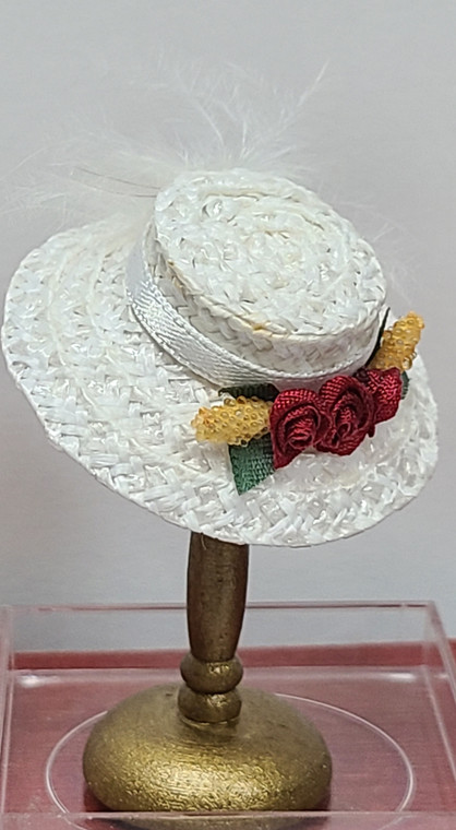 Judith Blondell Miniature White Hat on Stand
