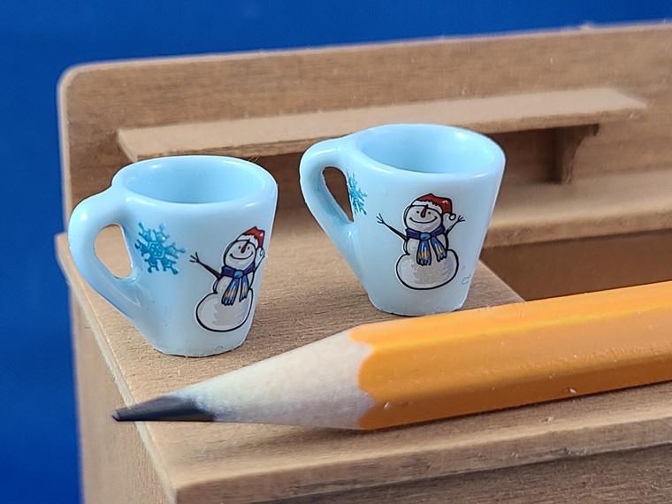 Pair of Miniature Mugs - Snowman/Snowflake II