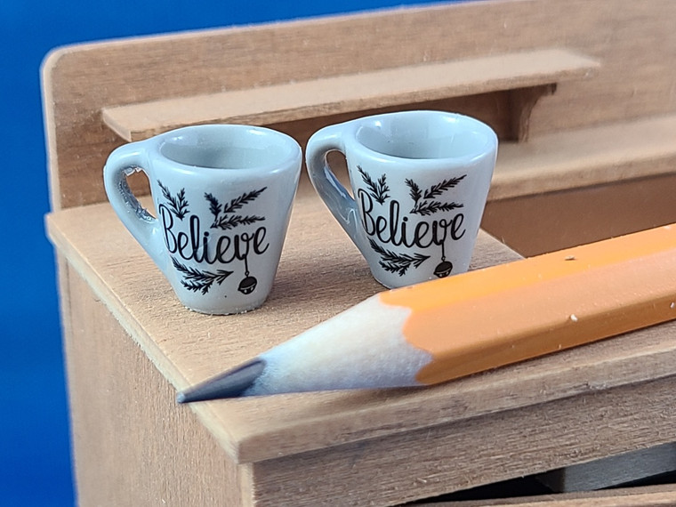 Pair of Miniature Mugs - Believe