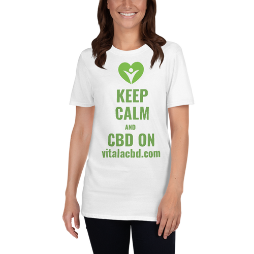 Soft Cotton T-Shirt With Keep Calm CBD On Deluxe Printing