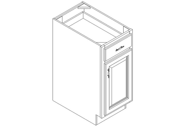 """Base Cabinet 15"""" right view"""