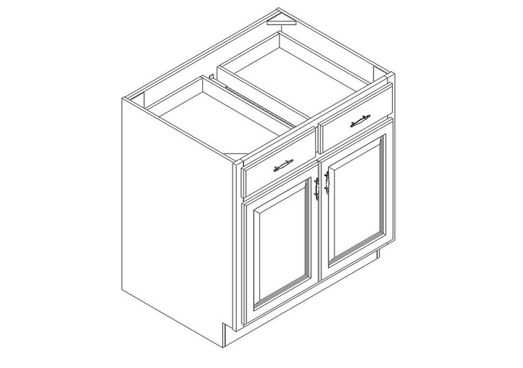 """Base Cabinet 33"""" right view"""
