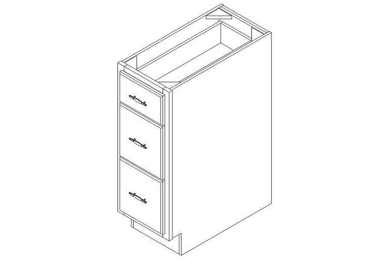 "Drawer Base Cabinet 12"" left view"