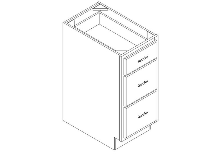 "Drawer Base Cabinet 15"" right view"