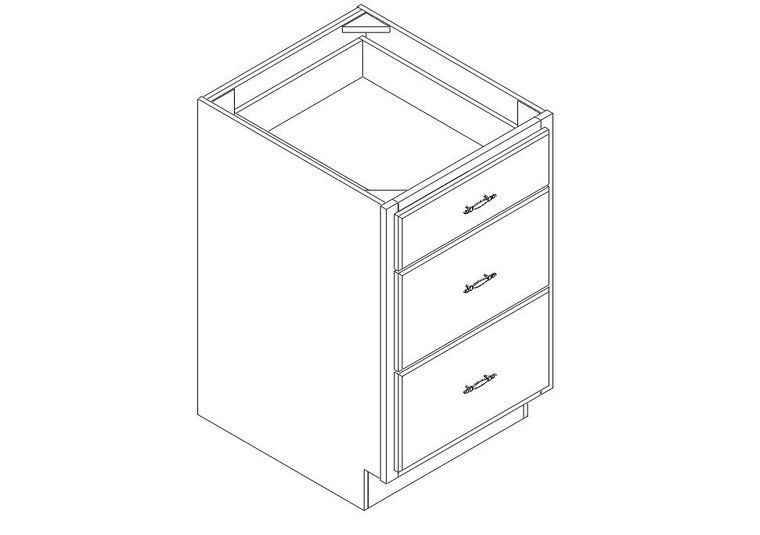 """Drawer Base Cabinet 21"""" right view"""