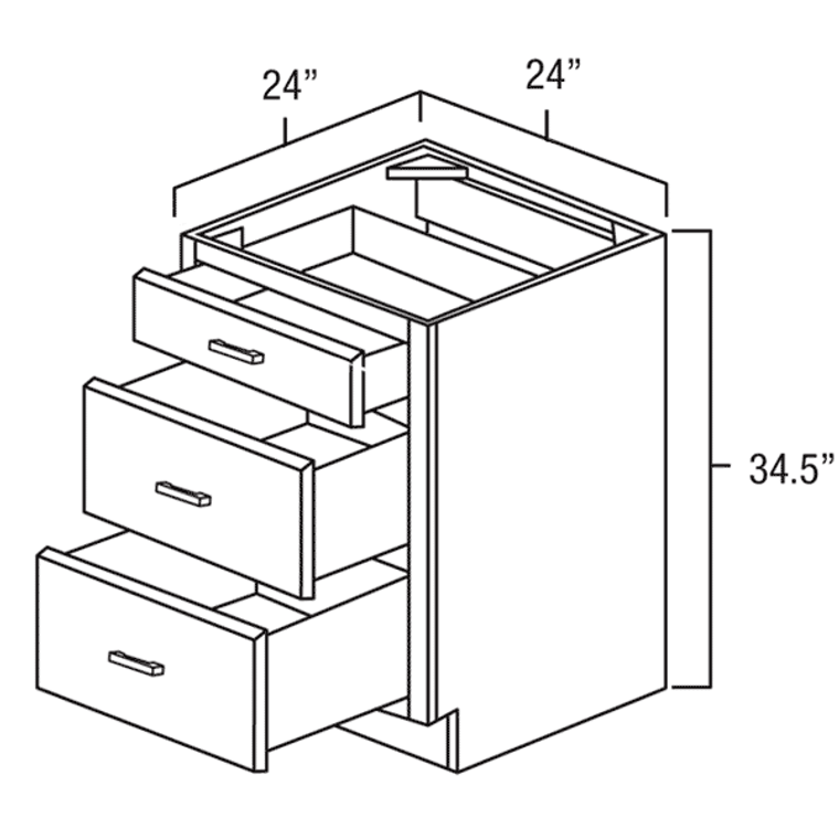 """Drawer Base Cabinet 24"""" right view"""