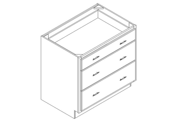 """Drawer Base Cabinet 36"""" right view"""