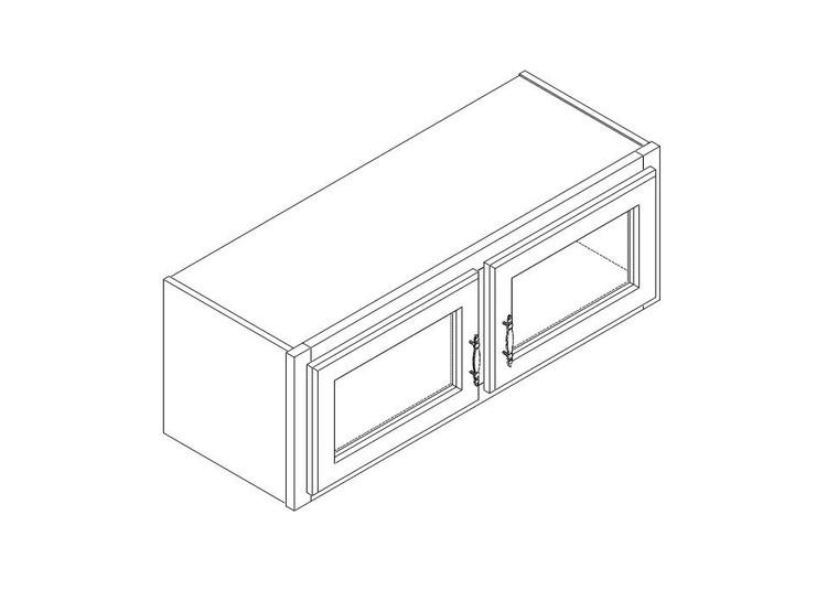 "Single Decorative Stacker Wall Cabinet 33"" x 12"""