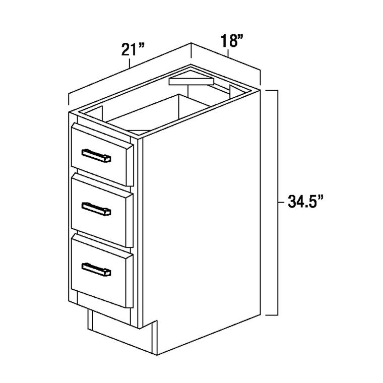 "Vanity Drawer Base Cabinet 18"""