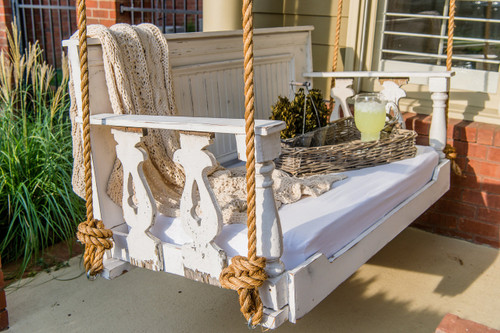 Custom made porch swing bed, with antique balusters