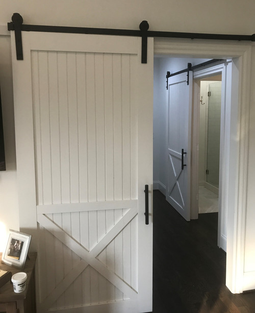barn door painted white