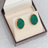Second Hand 9ct Gold Malachite Oval Stud Earrings