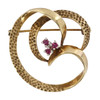 Second Hand 9ct Gold Ruby Swirl Brooch
