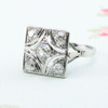 Art Deco Platinum Diamond Square Cluster Ring