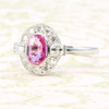 18ct Gold Pink Sapphire & Old Cut Diamond Cluster Ring