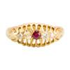 Antique 18ct Gold Ruby & Diamond 5 Stone Ring