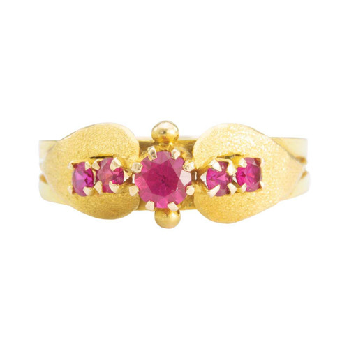 Second Hand 18ct Gold 5 Stone Ruby Floral Design Ring