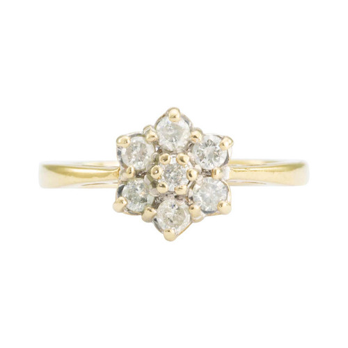 Second Hand 9ct Gold 7 Stone 1/3 Carat Diamond Daisy Cluster Ring