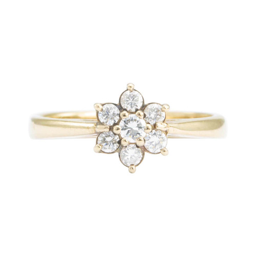 Second Hand 9ct Gold 7 Stone Diamond Daisy Cluster Ring